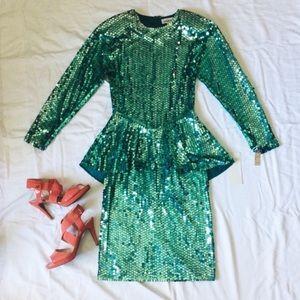 Vintage 80's Sequin Peplum Cocktail Dress by Para